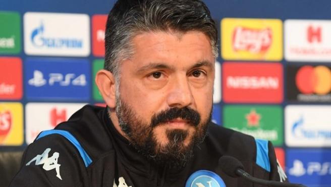 El entrenador del Nápoles, Gennaro Gatuso, en rueda de prensa