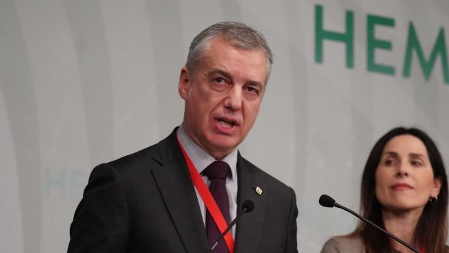 El lehendakari del Gobierno Vasco, Iñigo Urkullu, durante la presentación de las listas de los candidatos del EAJ-PNV a las elecciones vascas del próximo 5 de abril, en Bilbao/País Vasco (España) a 24 de febrero de 2020.