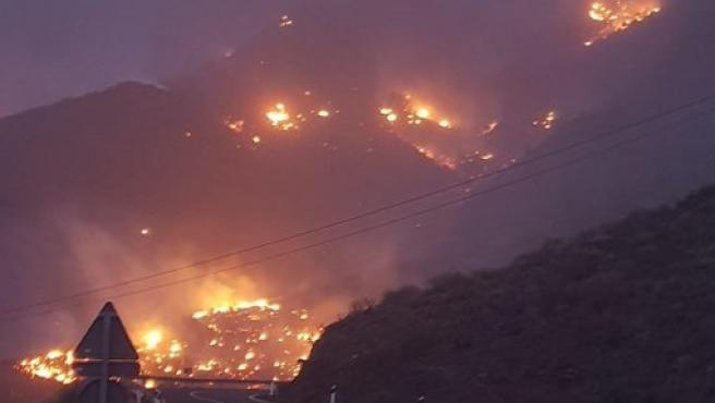 Incendio de Tasarte, en Gran Canaria