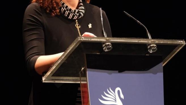La presidenta del Consell de Mallorca, Catalina Cladera, en un momento de su discurso en el acto institucional de la Diada de Mallorca.
