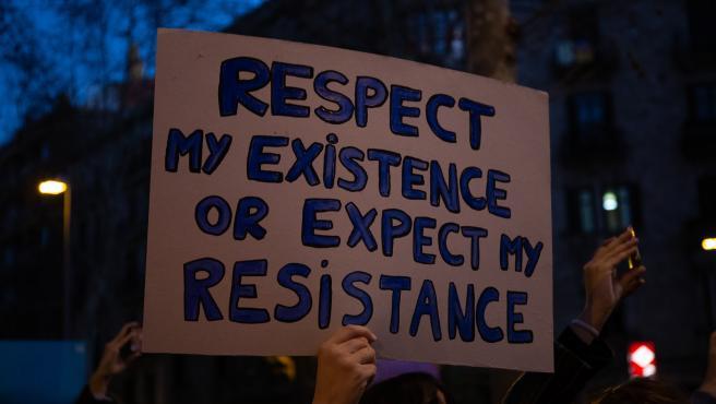 Manifestación de la huelga feminista en Barcelona