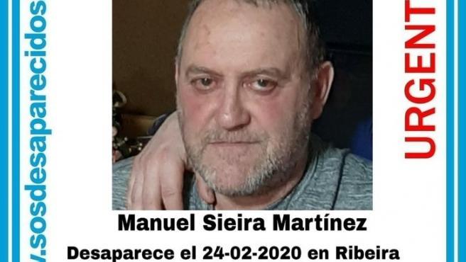 Manuel Sieira Martínez, hombre de 60 años desaparecido en Ribeira (A Coruña).