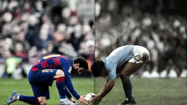 Montaje de Leo Messi y Maradona en San Paolo.