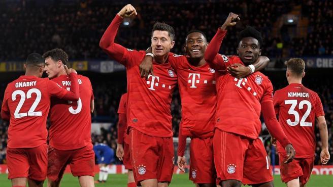El Bayern celebra un gol.