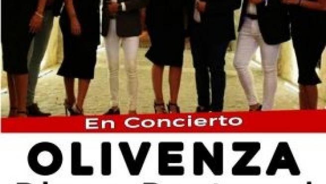 Cartel de la actuación en la Feria del Toro de Olivenza del grupo 'Raya Real'