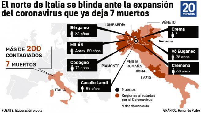 Mapa de coronavirus Italia