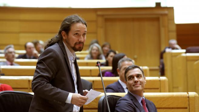 El vicepresidente segundo del Gobierno, Pablo Iglesias, este martes en el Senado.