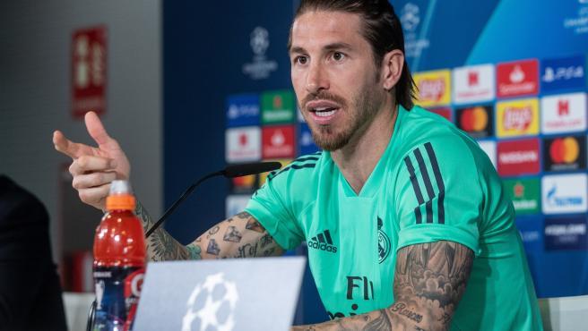 Sergio Ramos, antes del partido de Champions ante el City