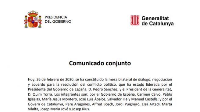 Imagen del comunicado de la Generalitat de Catalunya.