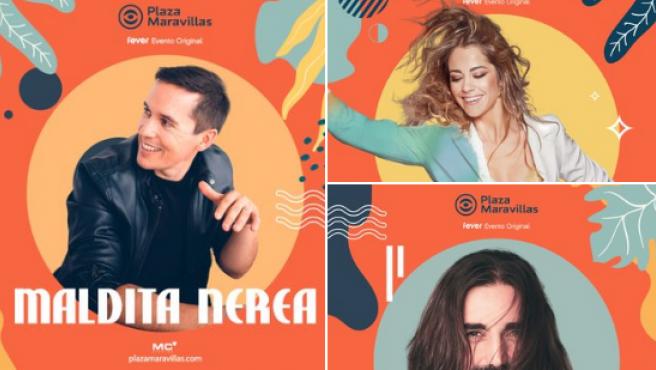 Carteles de Maldita Nerea, Andrés Suárez y Sofía Ellar en el festival Plaza Maravillas.