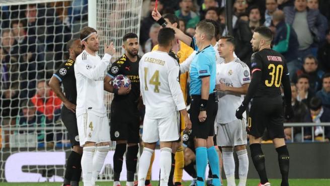El capitán del Madrid vio la roja en el partido contra el City.