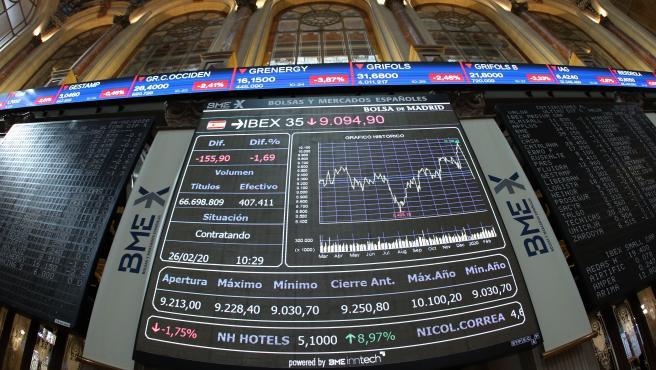 Vista del panel del Ibex 35 en el parqué de la Bolsa de Madrid.