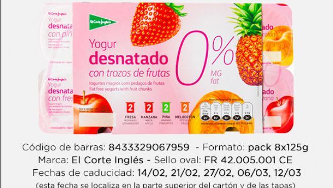 Imagen de los yogures retirados del Corte Inglés que fabrica Lactalis Nestlé.