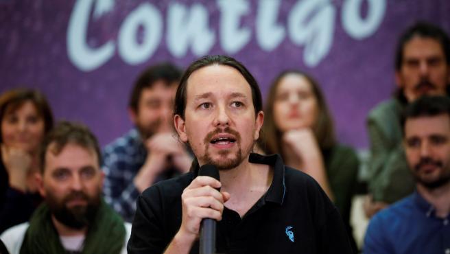 El líder de Podemos, Pablo Iglesias, este domingo.