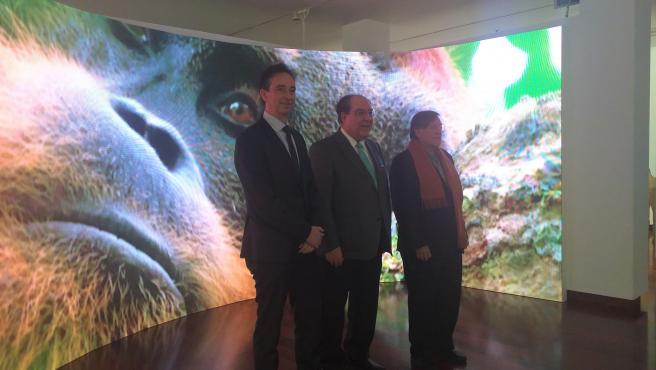 El presidente de Afundación, Miguel Ángel Escotet, acompañado por el naturalista Joaquín Araújo, y el director gerente de Afundación, Pedro Otero, en la presentación de la exposición 'Nuestro Planeta'.