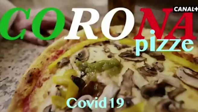 Fotograma del vídeo de Canal+ sobre la pizza y el coronavirus.