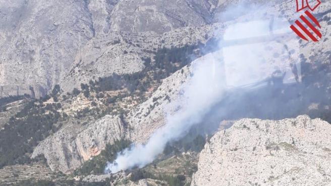 Imagen del foco del incendio de Benimantell.