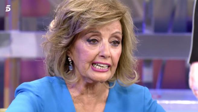 María Teresa Campos se emociona en 'Sálvame'.