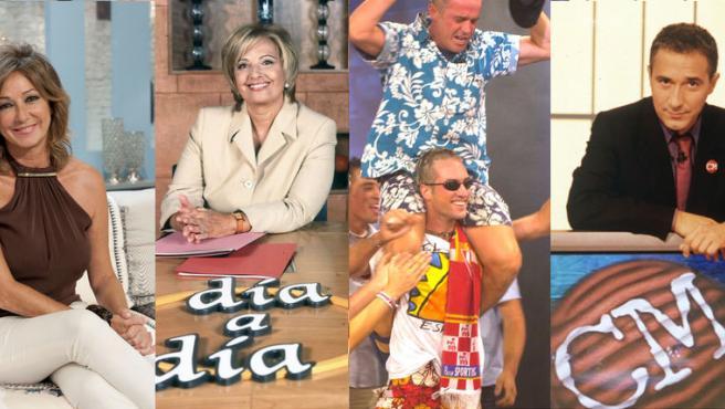 Algunos programas y presentadores históricos de Telecinco.