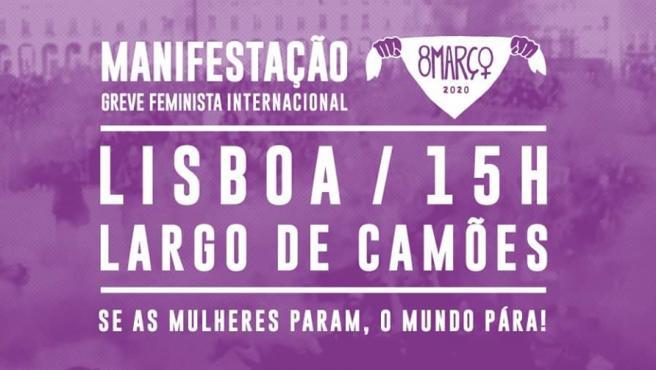 Cartel sobre la manifestación del 8M de Lisboa.
