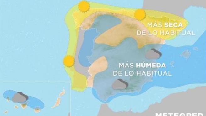 Mapa con la previsión meteorológica para Semana Santa.