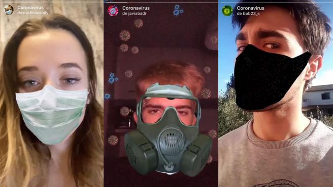 Tres filtros de Instagram de mascarillas para el coronavirus.