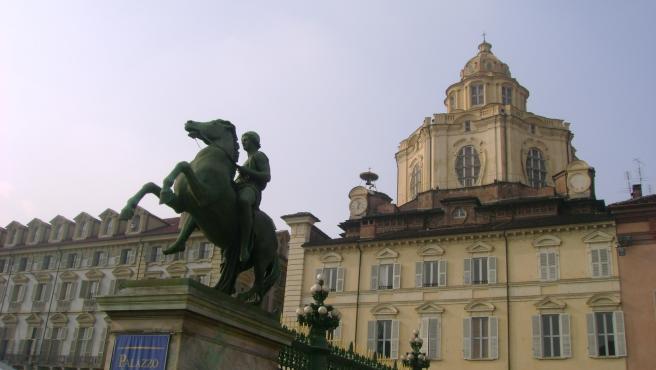 Vista de Piazza Castello desde el Palazzo Reale de Turín.