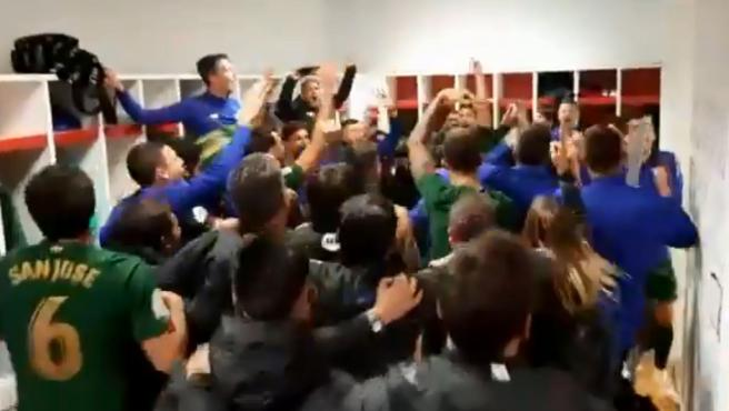 Los jugadores del Athletic celebran el pase a la final de la Copa del Rey.