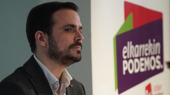 El ministro de Consumo, Alberto Garzón, durante el acto de la coalición de Elkarrekin Podemos-IU en Bilbao a 6 de marzo de 2020.