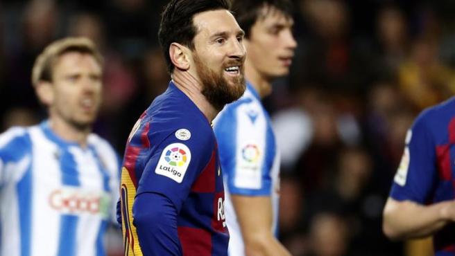 Messi, en el partido contra la Real Sociedad.