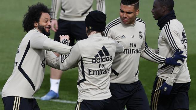 Jugadores del Real Madrid, en un entrenamiento.