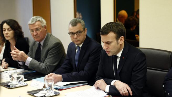 El presidente Macron, en la reunión del comité de defensa de Francia contra el coronavirus.
