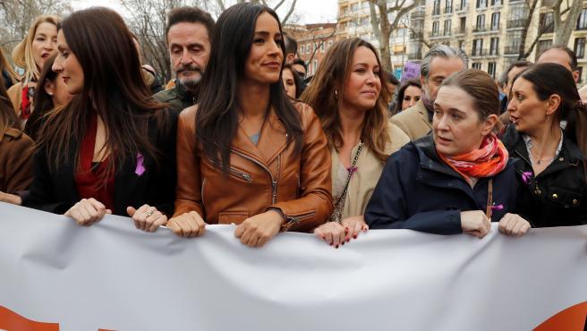 La vicealcaldesa de Madrid, Begoña Villacís, durante la manifestación del 8M.
