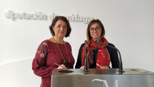 Las diputadas de Adelante Málaga, Teresa Sánchez y Maribel González, en rueda de prensa.