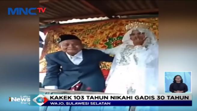Los novios de la boda de indonesia en la que el marido tenía 103 y ella 27.