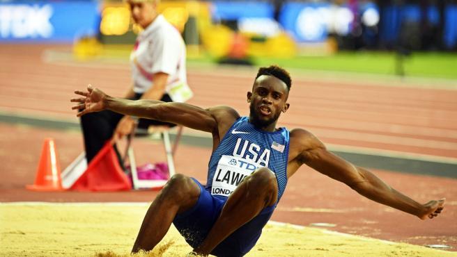 Jarrion Lawson, durante el Mundial de Atletismo de Londres 2017.