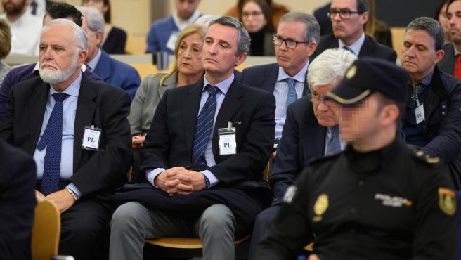 Juan Cotino, Pedro García, José Ramón Blanco Balín y otros acusados de la trama Gürtel, en la Audiencia Nacional.