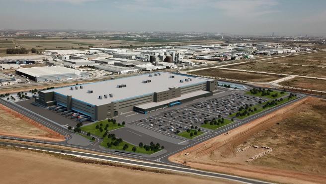 Render de la que será la nueva planta súper tecnológica de Amazon en Sevilla.