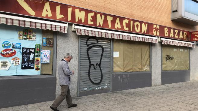 Un comercio chino, cerrado en Madrid.