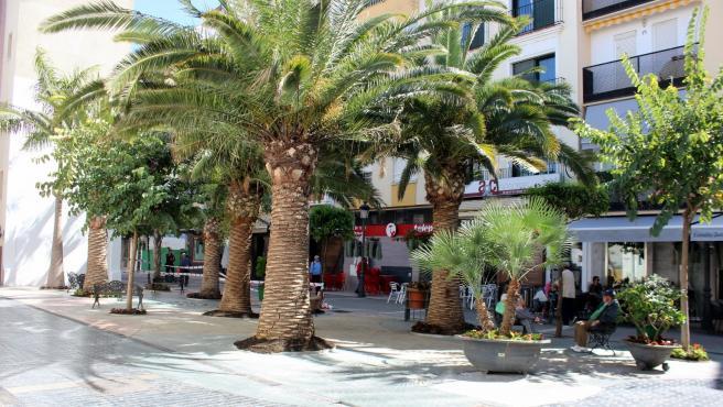 La céntrica plaza 'Rocío Bazán' de Estepona (Málaga)