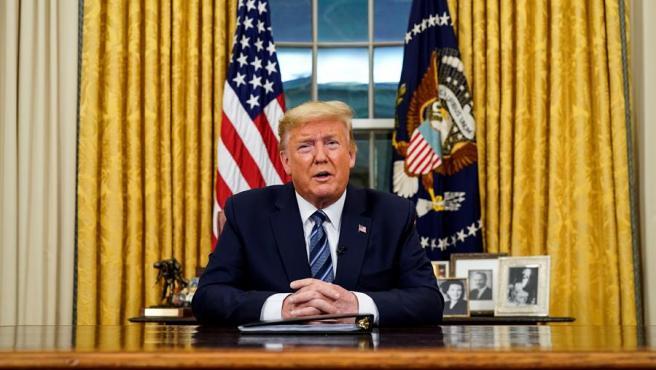 El presidente de EE UU, Donald Trump, anuncia medidas para combatir la expansión del coronavirus COVID-19 en el país, en un discurso a la nación desde la Casa Blanca.