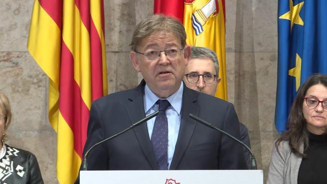El president de la Generalitat Valenciana, Ximo Puig, durant l'anunci d'ajornament de les celebracions de les Falles de València i la festes de la Magdalena de Castelló