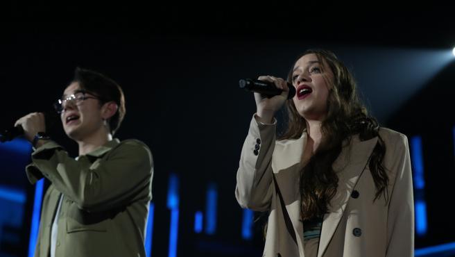 Eva y Flavio, durante una gala de 'OT 2020'.