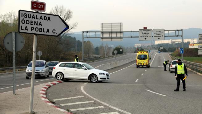 Imagen que muestra uno de los controles de acceso a vehículos en Igualada.