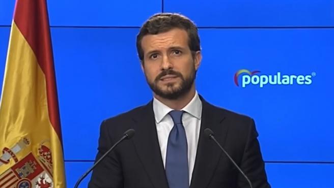 El presidente del PP, Pablo Casado, en una declaración institucional este viernes 13 de marzo.