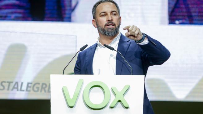 El presidente de Vox, Santiago Abascal, durante el acto del partido en Vistalegre.