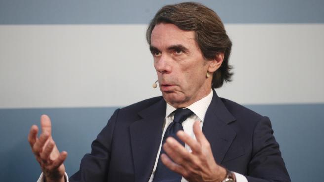 El expresidente del Gobierno José María Aznar interviene en un acto público en Madrid el pasado 27 de febrero
