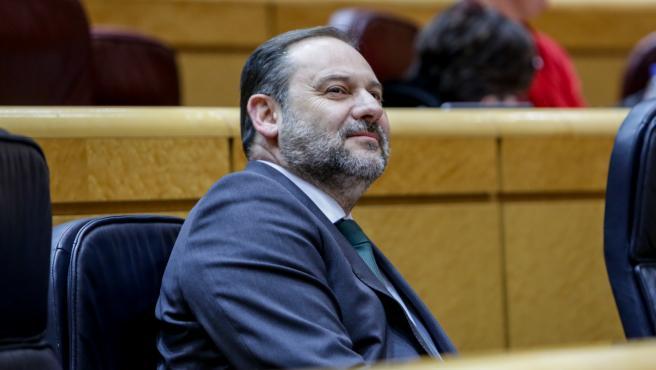 El ministro de Transportes, Movilidad y Agenda Urbana, José Luis Ábalos, durante la sesión de control al Gobierno en el Senado, en Madrid (España) a 3 de marzo de 2020.