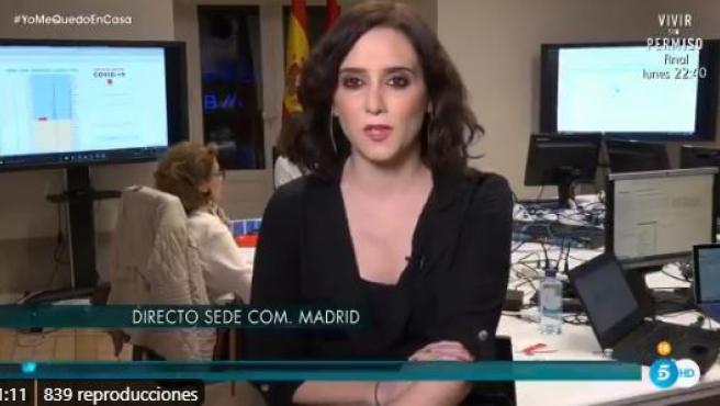 La presidenta de la Comunidad de Madrid, Isabel Díaz Ayuso, en Telecinco.