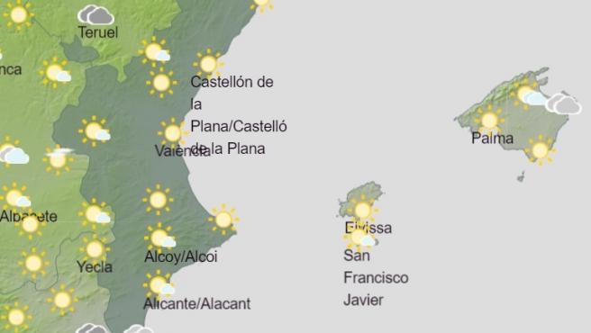 Predicción de Aemet para la Comunitat Valenciana del sábado, 14 de marzo de 2020